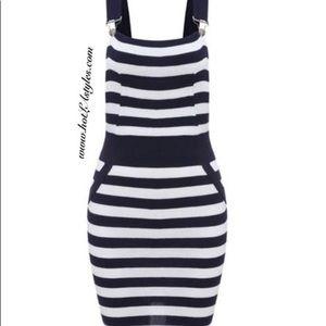 Sailor blue/white strip overalls dress